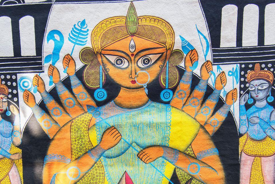Pingla, West Bengal, India - November 16, 2014: Durga idol, colourful handicrafts are being prepared...