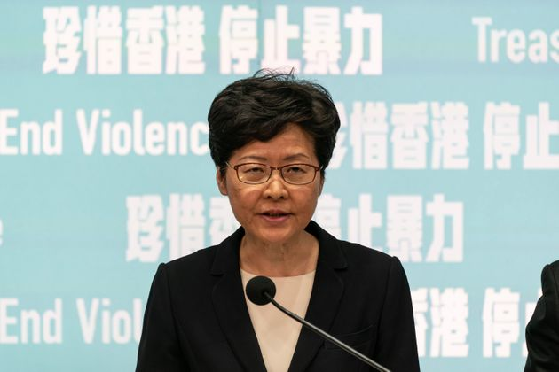 Hong Kong Chief Executive Carrie Lam speaks during a press conference at the Central Government Complex...