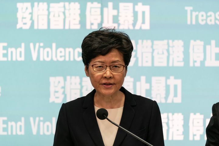 Hong Kong Chief Executive Carrie Lam speaks during a press conference at the Central Government Complex on October 4, 2019 in