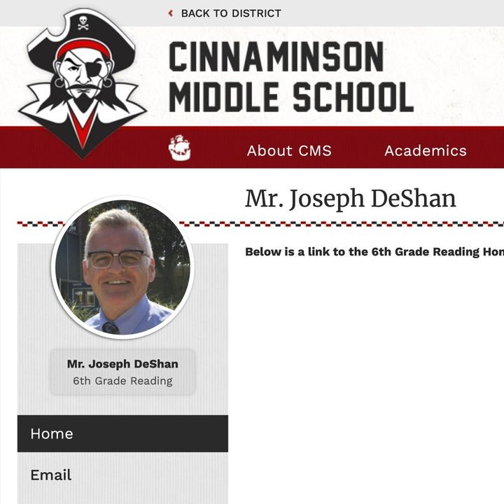 This Oct. 1, 2019 image made from the Cinnaminson, N.J., Middle School website shows part of a page for Joseph Michael DeShan