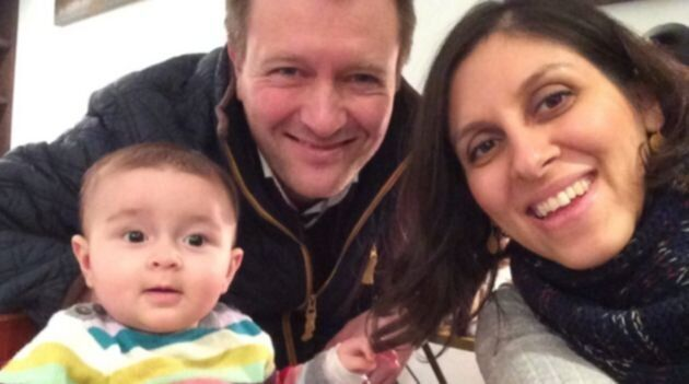 Nazanin Zaghari-Ratcliffe with husband Richard and Gabriella as a