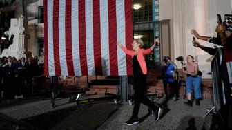 U.S. democratic presidential candidate Elizabeth Warren arrives at an outdoor rally in San Diego, California, U.S., October 3, 2019.     REUTERS/Mike Blake
