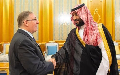 The evangelical Christian writer Joel Rosenberg (left) and Saudi Crown Prince Mohammed bin Salman on...