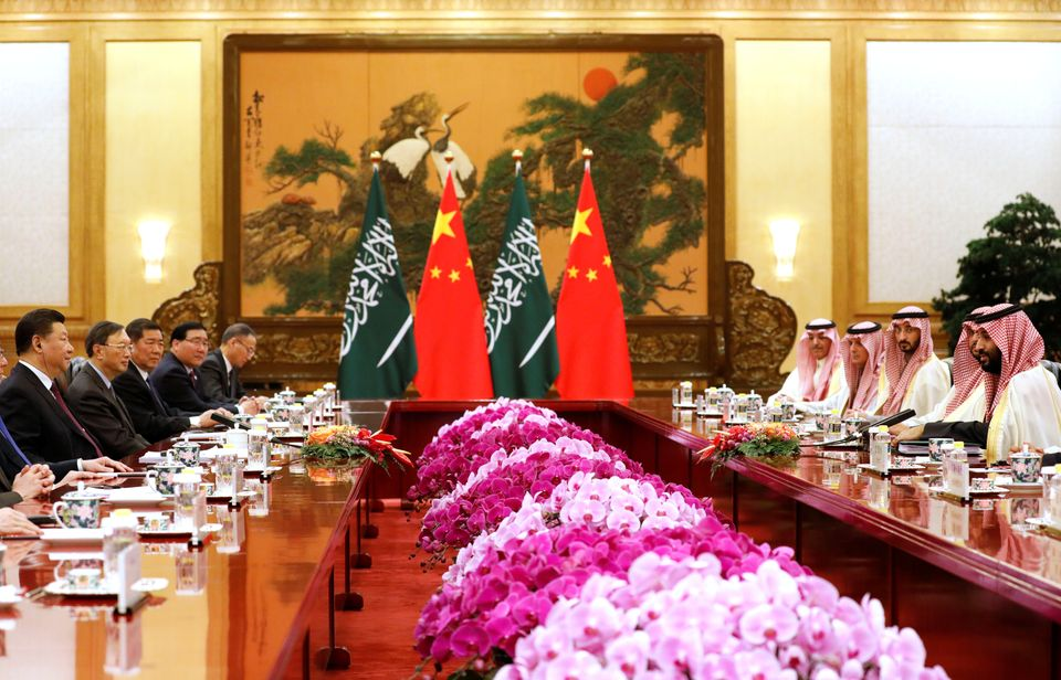 Saudi Crown Prince Mohammed bin Salman (R) meets with Chinese President Xi Jinping (L) at the Great Hall...