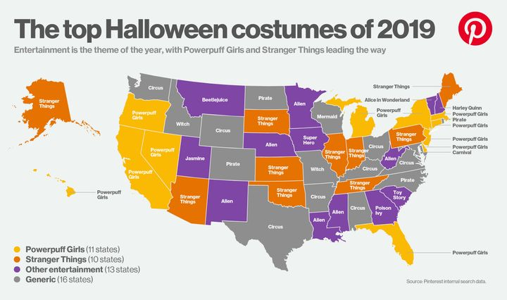 A map of the top Halloween costumes of 2019, according to Pinterest.