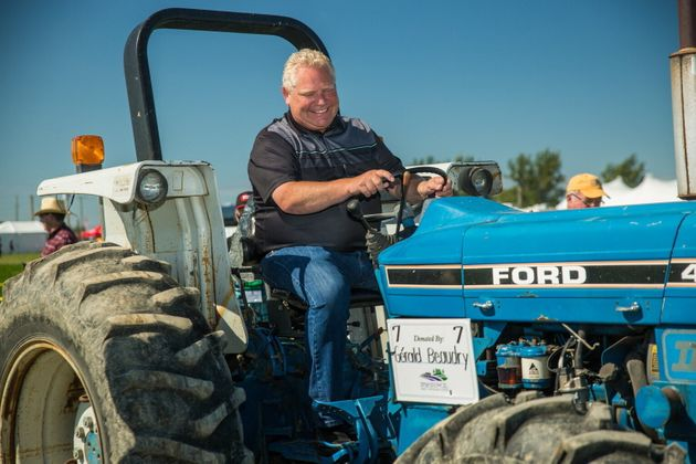 Ontario Premier Doug Ford plows a furrow at the International Plowing Match in Verner, Ont. on Sept....