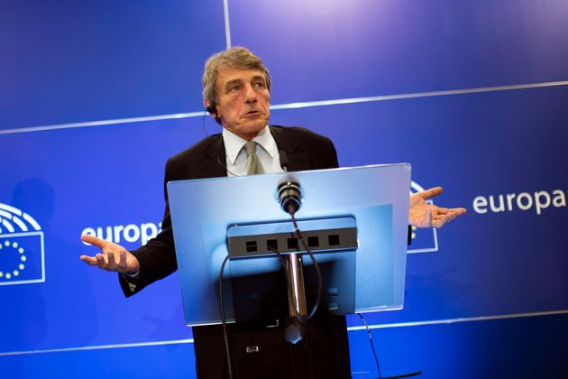 European Parliament President David Sassoli talks to journalists during a news conference at the European...