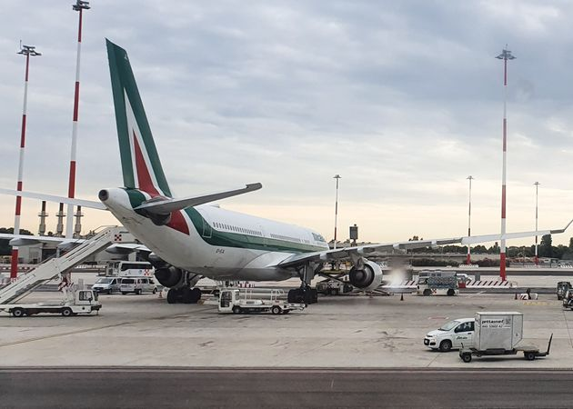 Alitalia airline on the tarmac prior taking off from Rome's Fiumicino airport on July 15, 2019 in Rome,...