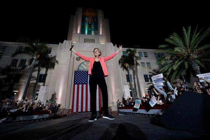 Democratic presidential candidate Sen. Elizabeth Warren at her outdoor rally Thursday in San Diego.