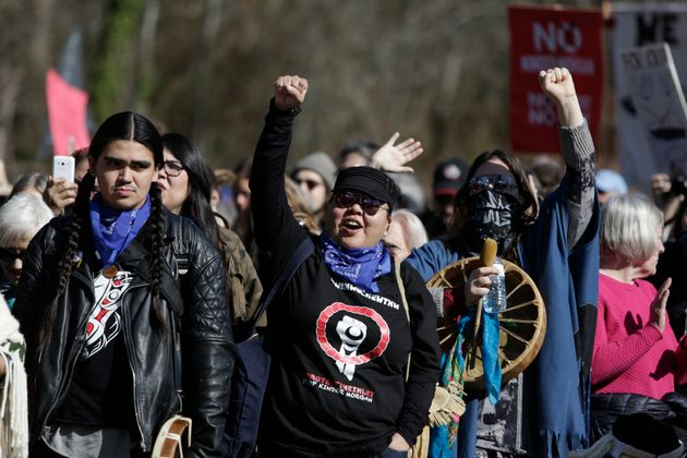 Indigenous groups and others demonstrate against the expansion of the Trans Mountain pipeline project...