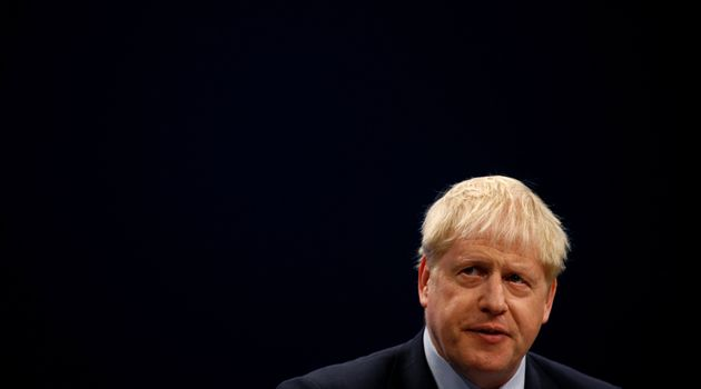 Britain's prime minister Boris Johnson gives a closing speech at the Conservative Party annual conference...