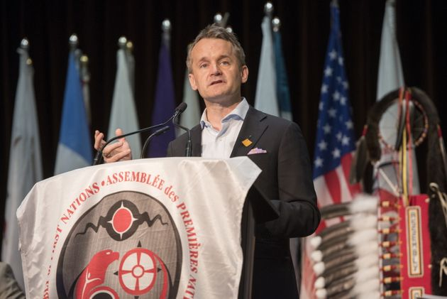 Seamus O'Regan delivers remarks at the Assembly of First Nations' Annual General Assembly in Fredericton, N.B. on July 24, 2019.