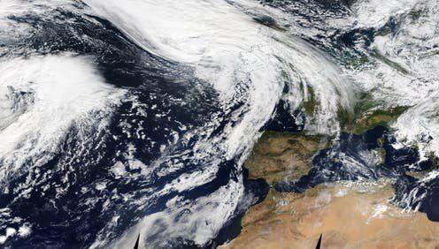 Vista del Atlántico europeo este jueves según el sistema EOSDIS de la NASA.Nasa