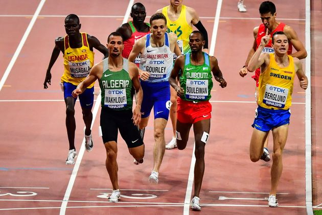 Djibouti's Ayanleh Souleiman (C) finishes ahead of Algeria's Taoufik Makhloufi (2L) and Sweden's Kalle...