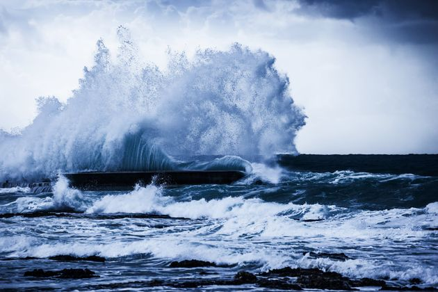 Stormy ocean waves, beautiful seascape, big powerful tide in action, storm weather in a deep blue sea,...