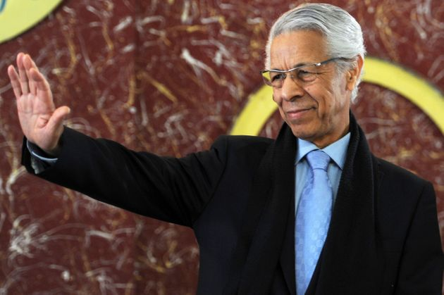 Former Algerian Prime minister and presidential candidate in 1999, Mouloud Hamrouche greets the audience...