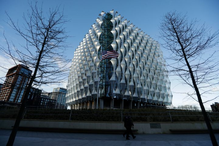 British police officers patrol the United States Embassy building in London in January 2018.