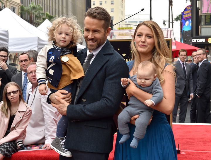 Ryan Reynolds and Blake Lively with daughters James and Inez attend the ceremony honouring Ryan Reynolds with a Star on the Hollywood Walk of Fame on Dec. 15, 2016 in Hollywood.