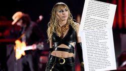 Miley Cyrus dénonce le