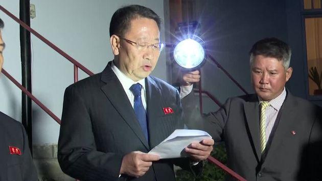 Kim Myong Gil, North Korea's chief nuclear negotiator, speaking through an interpreter outside of North...