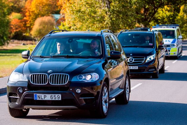 Cars carrying members of the North Korean delegation arrive to Villa Elfvik Strand conference center...