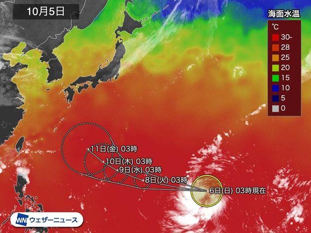 5日(土)の海面水温の状況と、台風19号の予想進路