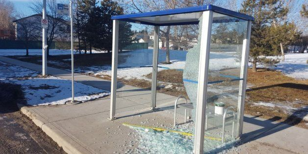 One of the Edmonton bus shelters that was destroyed in a recent string of