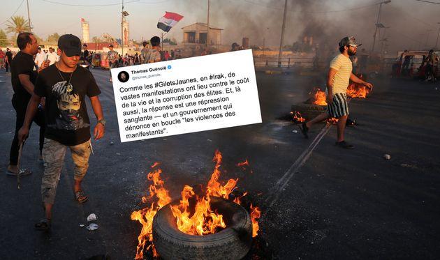 Des manifestants irakiens lors d'une manifestation à Bagdad le 5