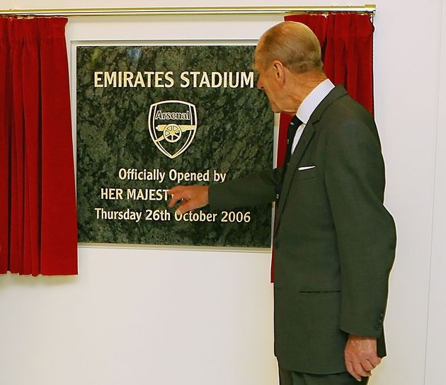LONDON - OCTOBER 26: Prince Philip, Duke of Edinburgh unveils a plaque as he officially opens the Emirates...