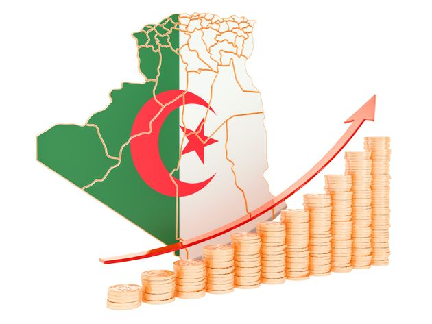 Economic growth in Algeria concept, 3D rendering isolated on white