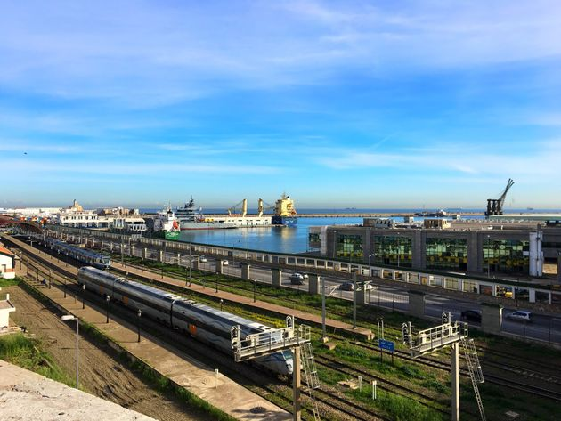 Algiers, Algeria - January 13, 2018: Railway near by Mediterranean Sea in city