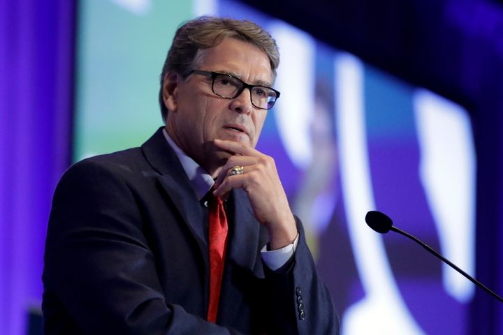 In this Sept. 6, 2019, file photo, Energy Secretary Rick Perry speaks at the California GOP fall convention in Indian Wells,