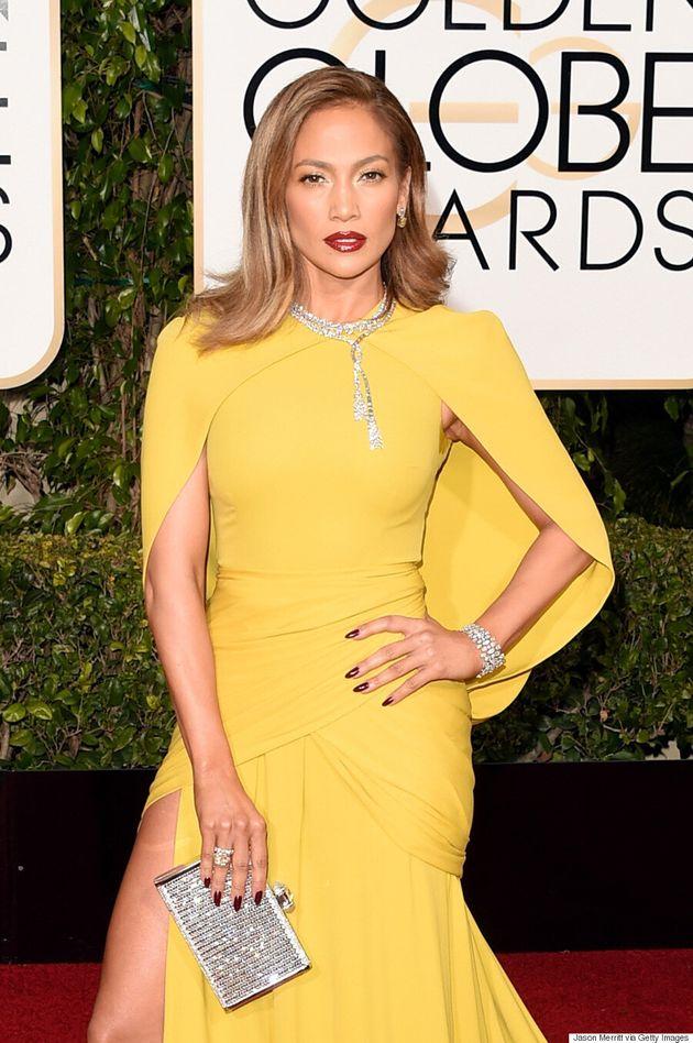 Jennifer Lopez Shines Bright At 2016 Golden Globes In Yellow Giambattista Valli
