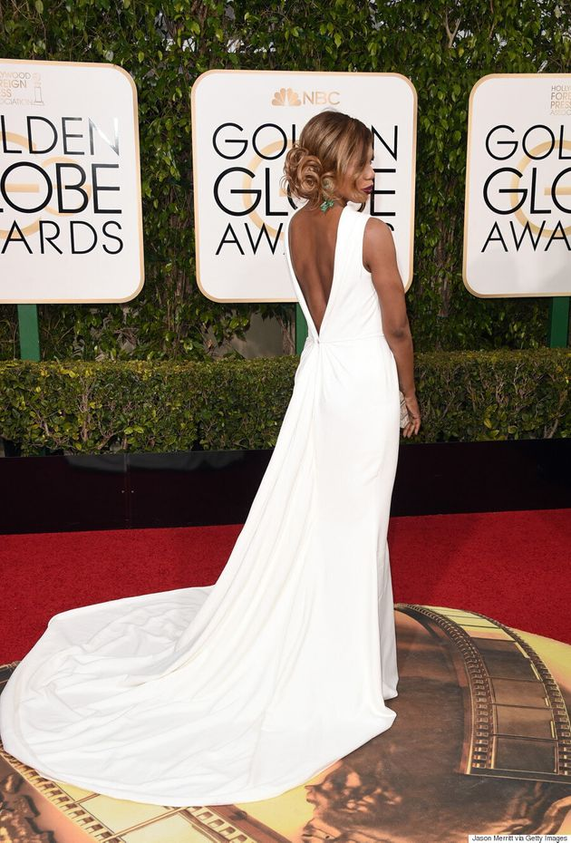 2016 Golden Globes: Laverne Cox Is A Vision In White Elizabeth Kennedy