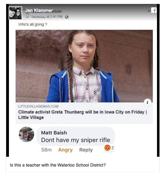 Westlake Legal Group 5d9aad1c210000b103ab3a32 Iowa Teacher Placed On Leave After 'Sniper' Comment About Greta Thunberg Visit