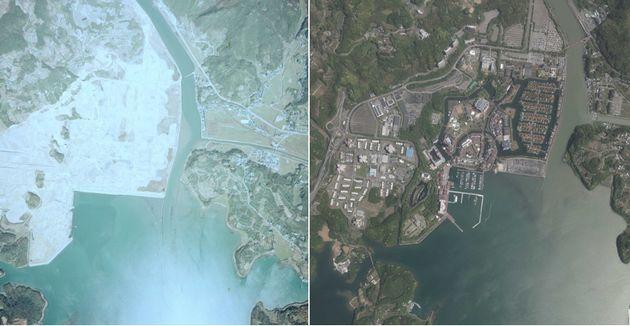 現在のハウステンボスにあたる敷地の、1975年(左)と2016年の様子を比較したもの。緑が青々と茂り、自然豊かな場所になったことがわかる