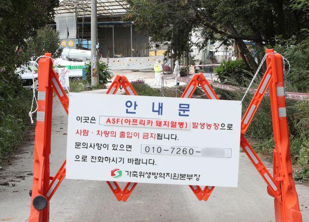 3일 오후 13번째 아프리카돼지열병(ASF)이 발생한 경기 김포시 통진읍의 한 농가에서 방역당국 관계자들이 출입을 통제하고