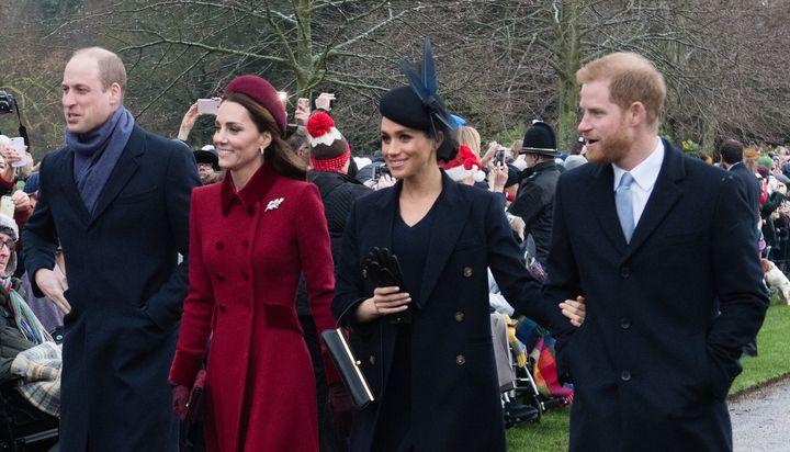 Prince William, Duke of Cambridge, Catherine, Duchess of Cambridge, Meghan, Duchess of Sussex and Prince Harry, Duke of Sussex.