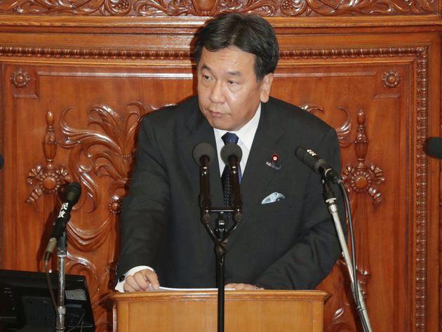 衆議院本会議で代表質問する立憲民主党の枝野幸男代表