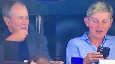 Ellen DeGeneres Setzt Sich Neben George Bush Im Cowboys Spiel. Die Fans Reagieren.