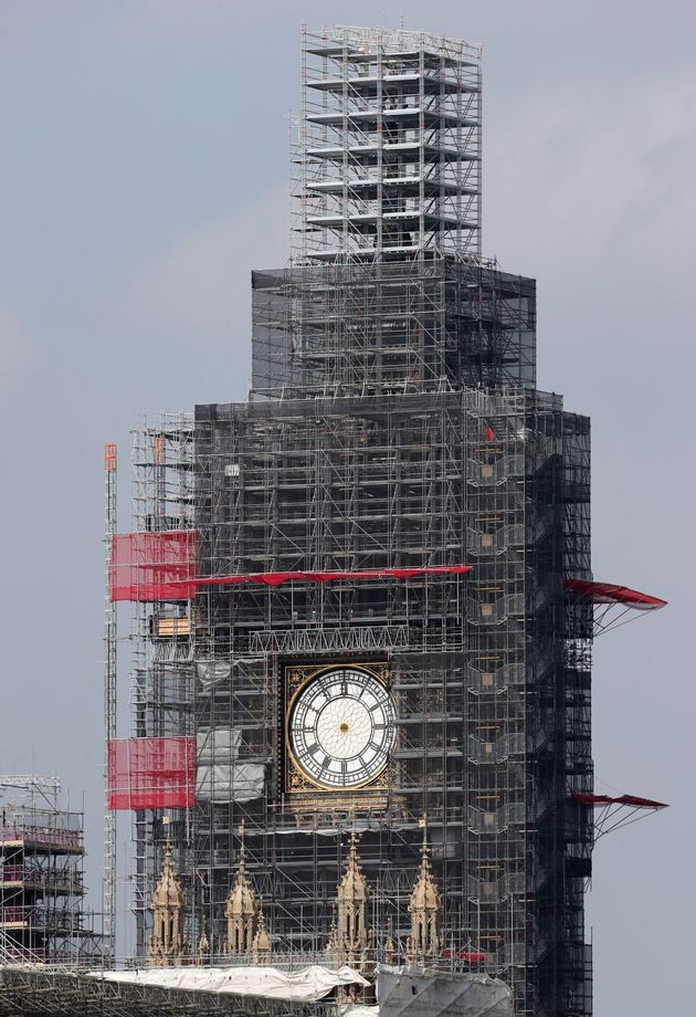 The clock hands of Elizabeth Tower at the Palace of Westminster have been removed for maintenance and...