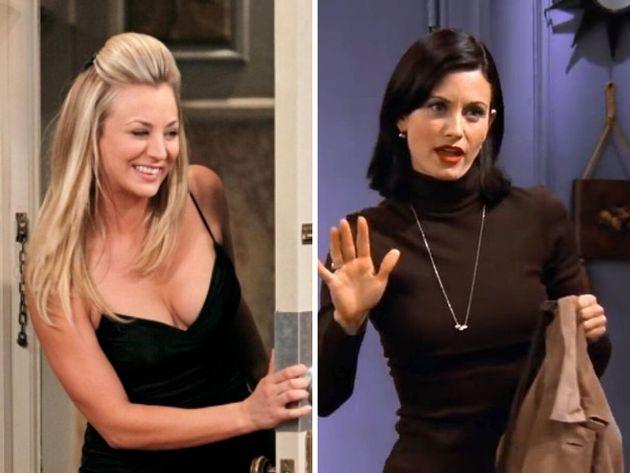 Kaley Cuoco, en una escena de 'The Big Bang Theory' y Courteney Cox, en una de