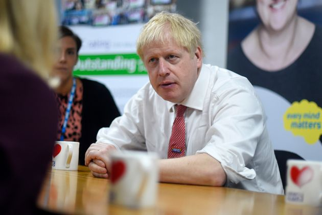 Johnson speaks to mental health professionals during his visit to Watford General
