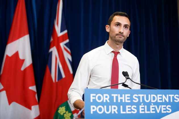 Ontario Education Minister Stephen Lecce speaks during a news conference Sunday in Toronto after a new...