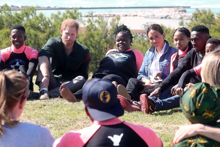 The Duke and Duchess of Sussex participated in a group activity alongside Waves for Change to promote positive thinking on Sept. 24, in Cape Town, South Africa.