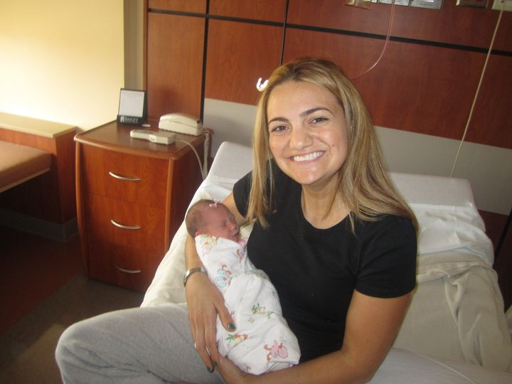 Kimberly and her older daughter on the day they met in August 2011.
