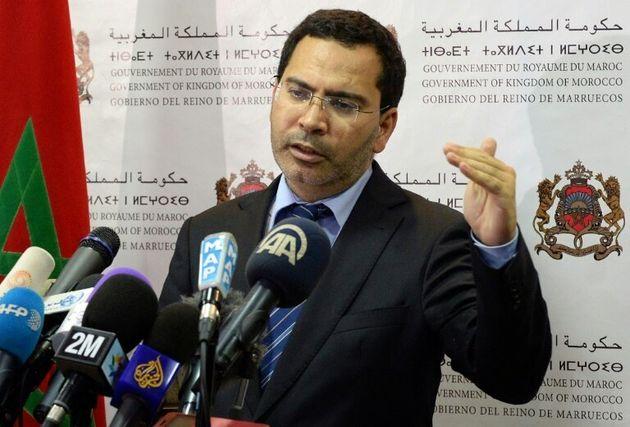 (Arquivo) Foto mostra o porta-voz do governo do Marrocos, Mustapha Khalfi, durante coletiva de imprensa...