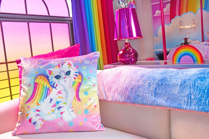 A glimpse of the cozy, colorful Lisa Frank apartment.