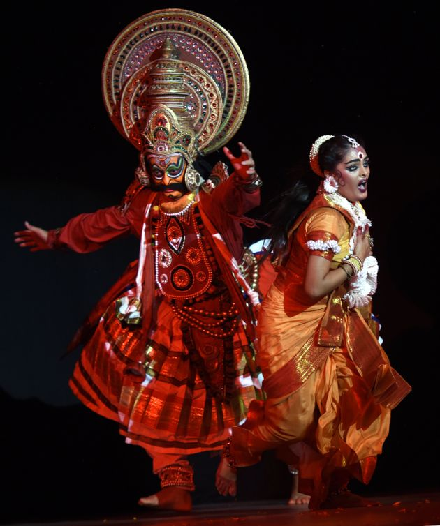 Artists enact a scene from Ramayana on the eve of Swayamvara Dance Dream 'Shri Ram' organised by Shri...