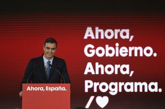 Pedro Sánchez en la presentación del programa electoral del PSOE para el